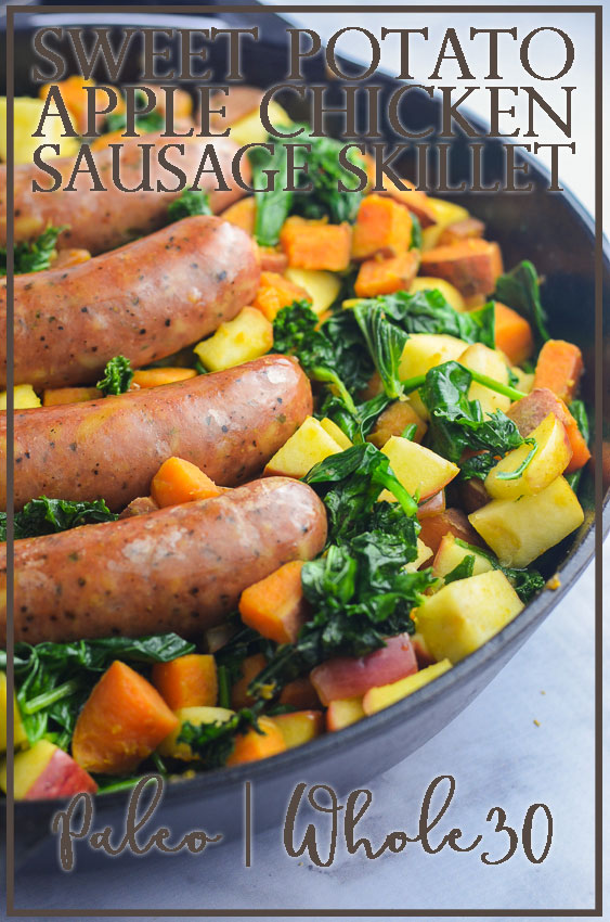An incredibly healthy, tasty and easy sweet potato chicken sausage skillet chock-full of kale, sweet potato, apples and chicken sausage. Whole30-compliant, gluten-free, grain-free, dairy-free, Paleo.