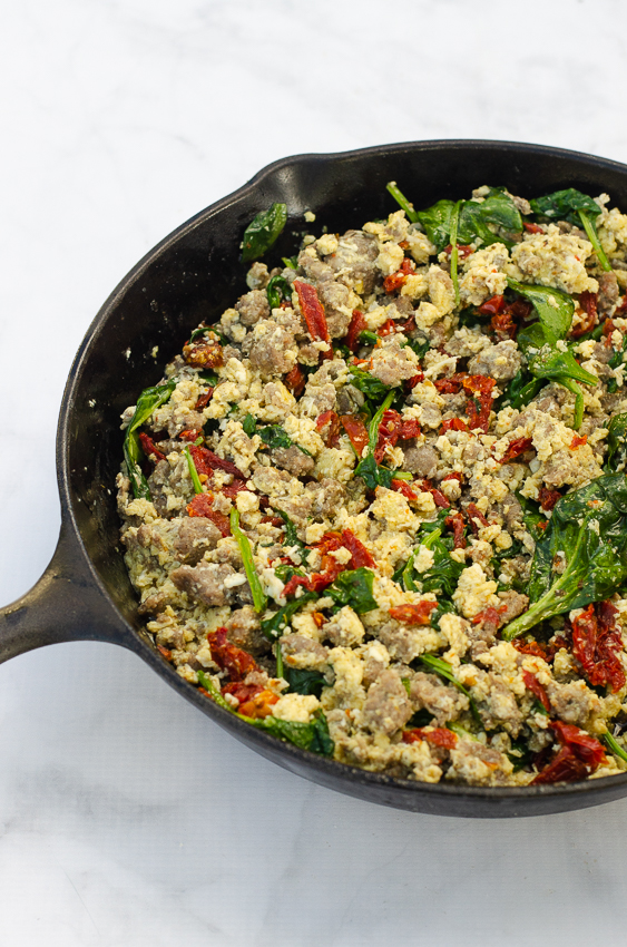 An incredibly easy one pan meal, this sun-dried tomato basil breakfast skillet can really be made for any meal! Gluten-free, grain-free, low-carb, ketogenic and dairy-free.