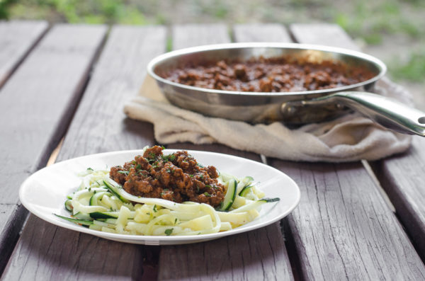 A deliciously simple meal, ready in under 30 minutes, this class meat sauce with zoodles will be a big hit with the family! Low-carb, ketogenic, Whole30, Paleo, gluten-free, grain-free, dairy-free and nut-free.