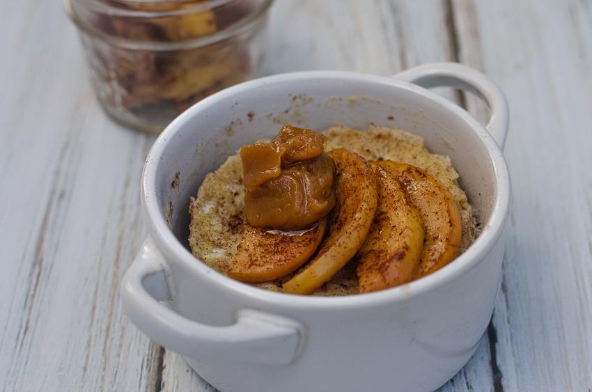 Apple Cinnamon Mug Cake With Caramel Sauce Low Carb Paleo