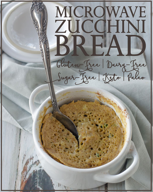 Zucchini bread in just a few minutes? Yes, it's possible AND delicious! Keto, paleo, low-carb, gluten-free, grain-free, dairy-free, sugar-free.