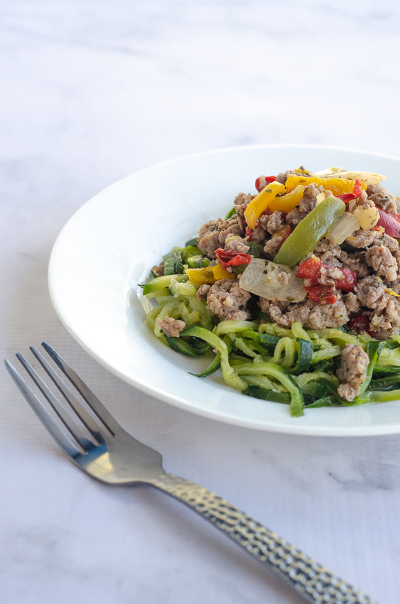 This Italian sausage, peppers and onions with zucchini noodles is asimple meal for super-busy nights. Keto, low-carb, Paleo, Whole30, gluten-free, grain-free, dairy-free.