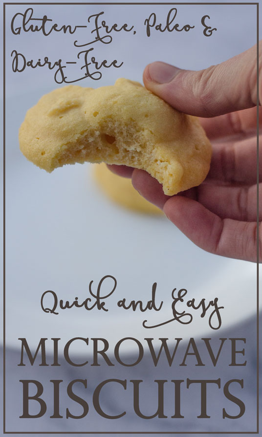 These microwave biscuits are great for when the bread cravings strike, but you don't want to turn on the oven and wait 45 minutes. Gluten-free, grain-free, dairy-free, Paleo.