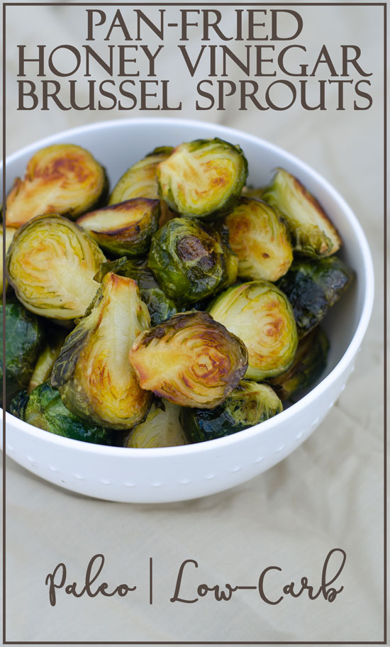 Are you looking for a delicious side dish recipe? These pan-fried honey vinegar Brussels sprouts are the PERFECT side dish! They are sweet, salty and healthy! Keto, Paleo, low-carb.